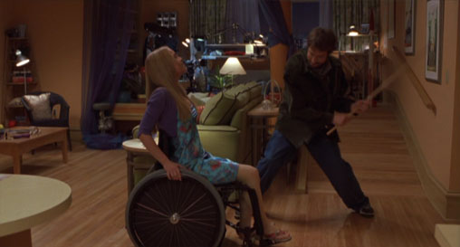 You're supposed to laugh because she's disabled.